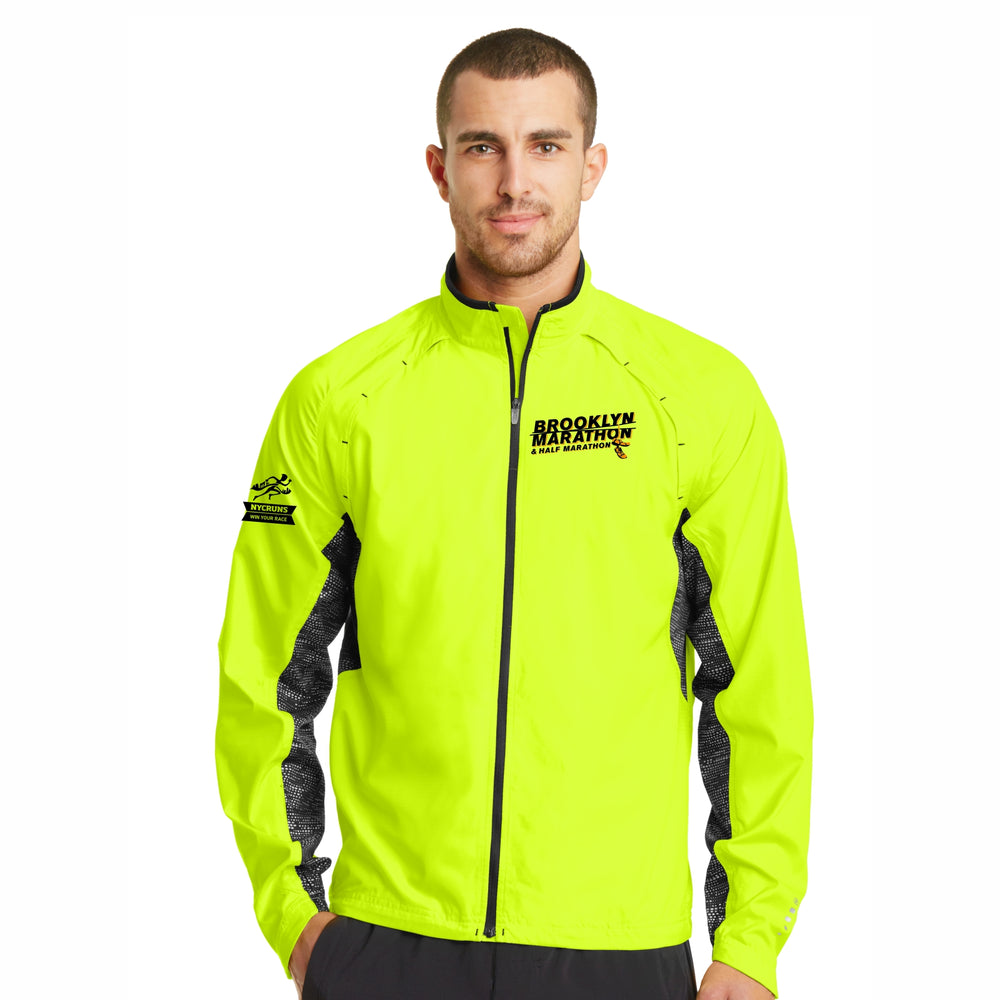 Men's Zip Reflective Water-Resistant Jacket - Pace Yellow 'LCE Design' - Brooklyn Marathon