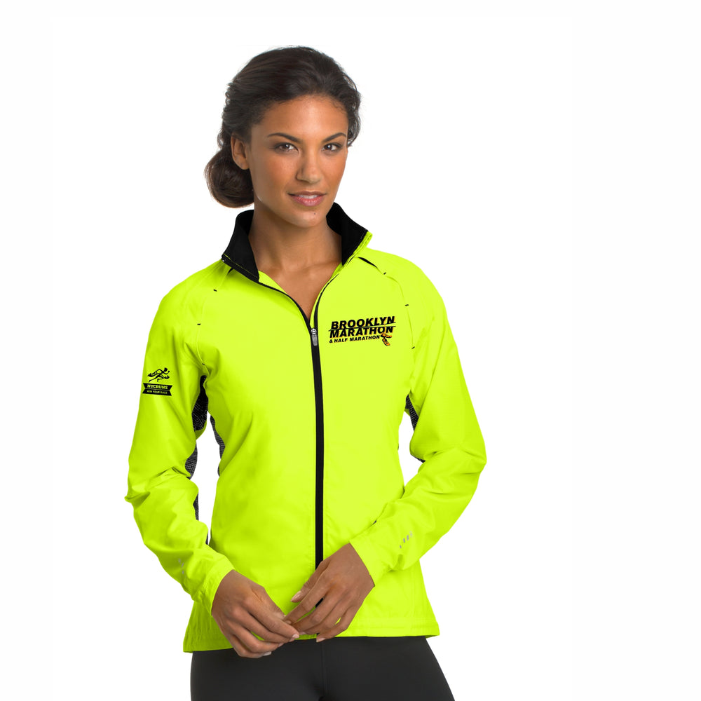 Women's Reflective Water-Resistant Zip Jacket - Pace Yellow 'LCE Design' - Brooklyn Marathon