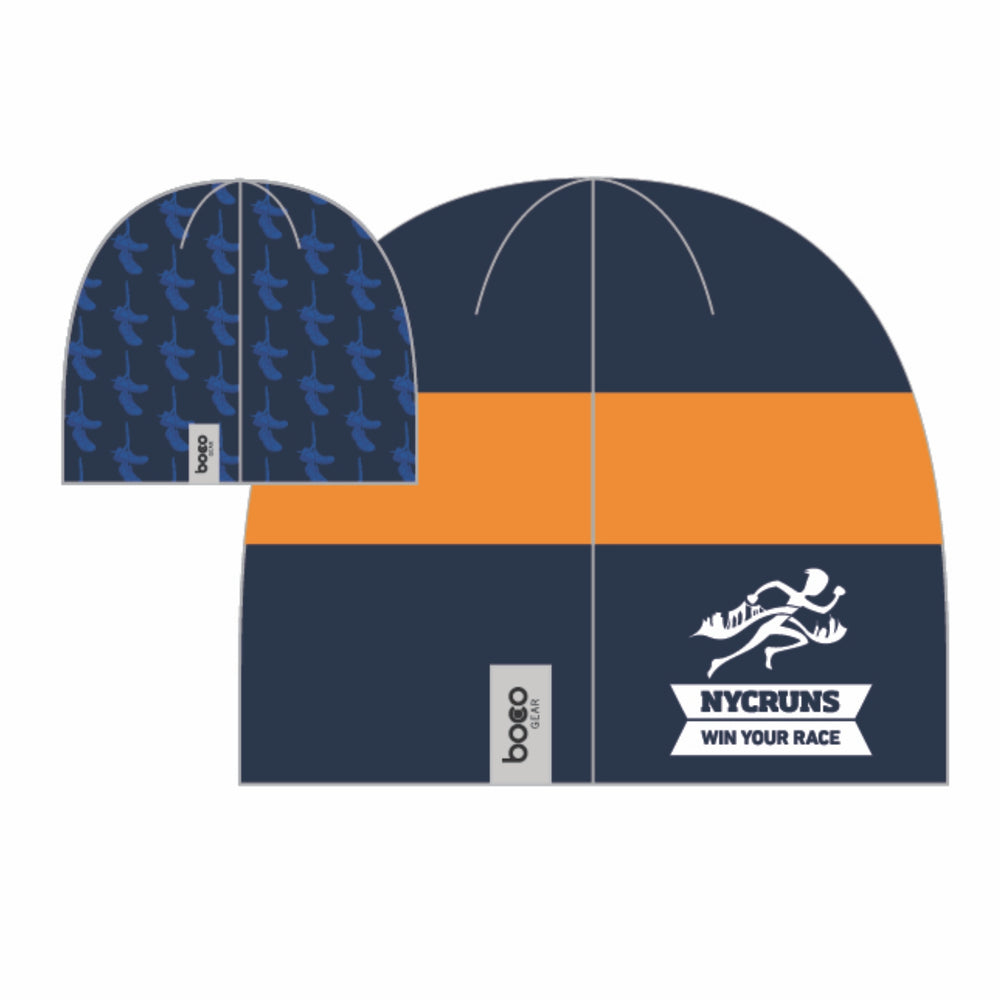 Reversible Fleece Sublimated Beanie - Navy 'Logo Design' - Brooklyn Marathon