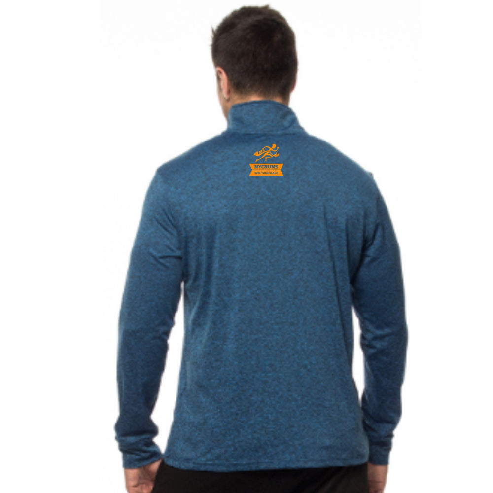 Men's Heathered 1/4 Zip - Blue 'LCP Design' - Brooklyn Marathon
