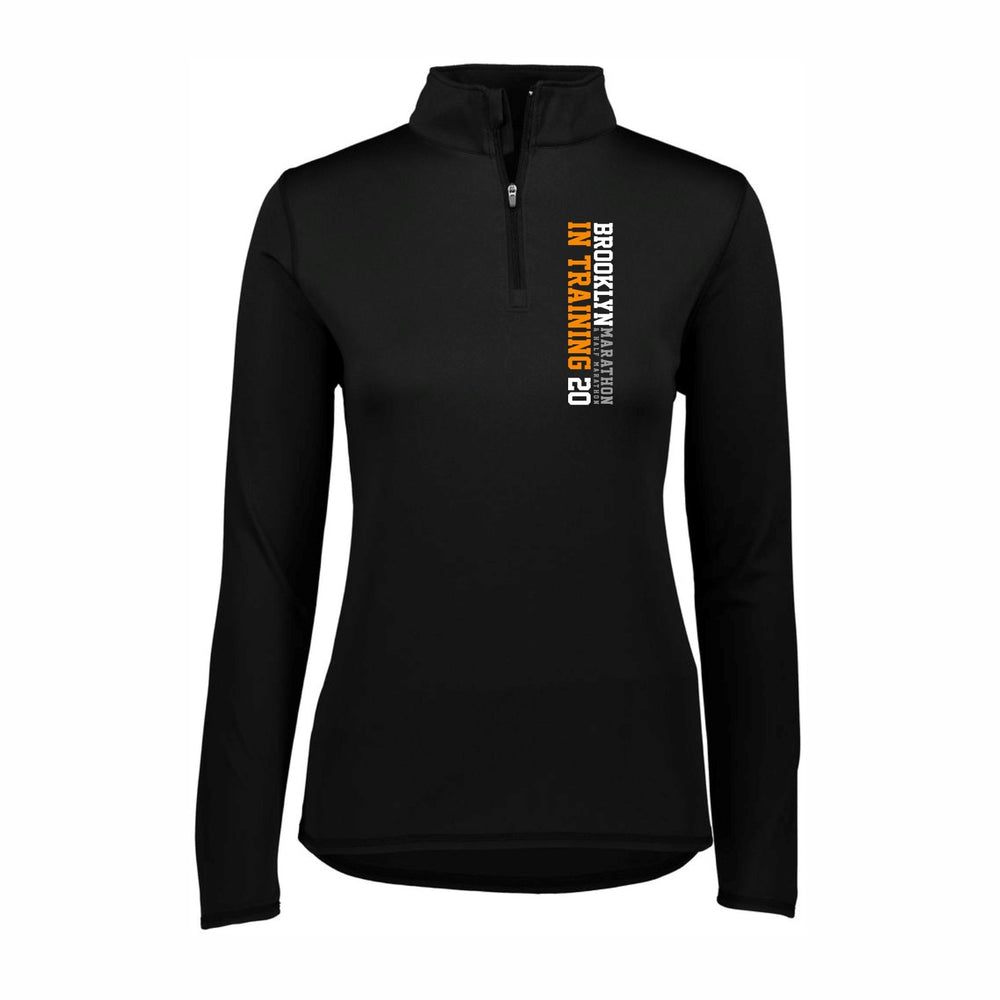 Women's Tech 1/4 Zip - Black 'In Training 2020 Design' - Brooklyn Marathon & Half Marathon