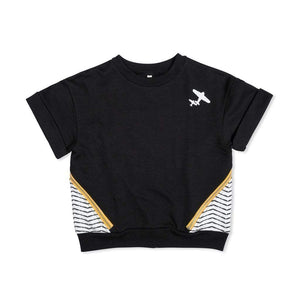 Tinono Kids top Diagonal black sweat top