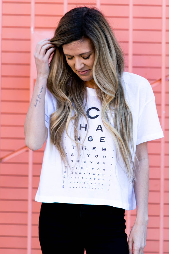 SEE YOURSELF CROP TOP TEE