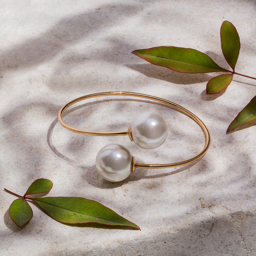 Double Pearl Open Bangle
