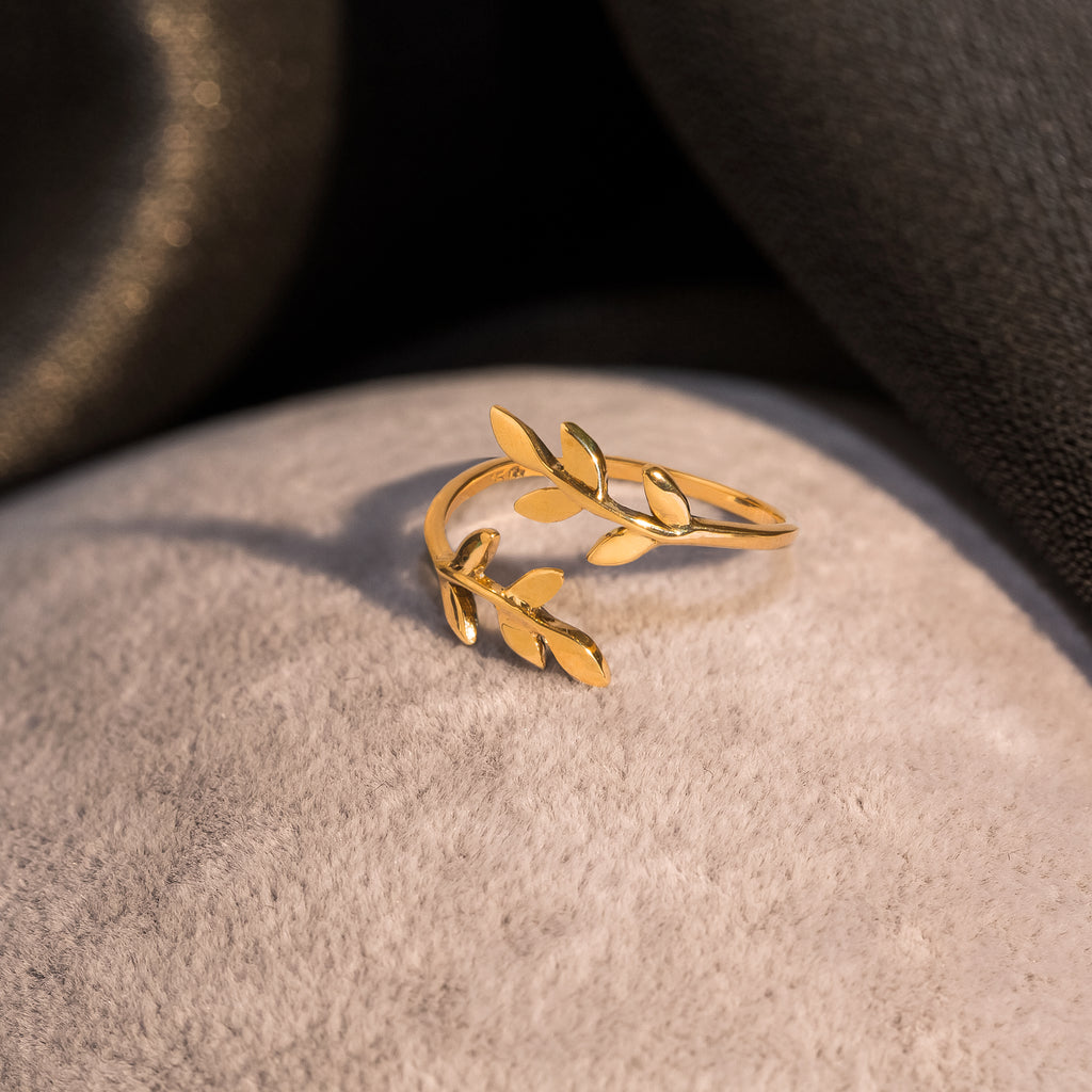 Olive Leaf Bypass Ring