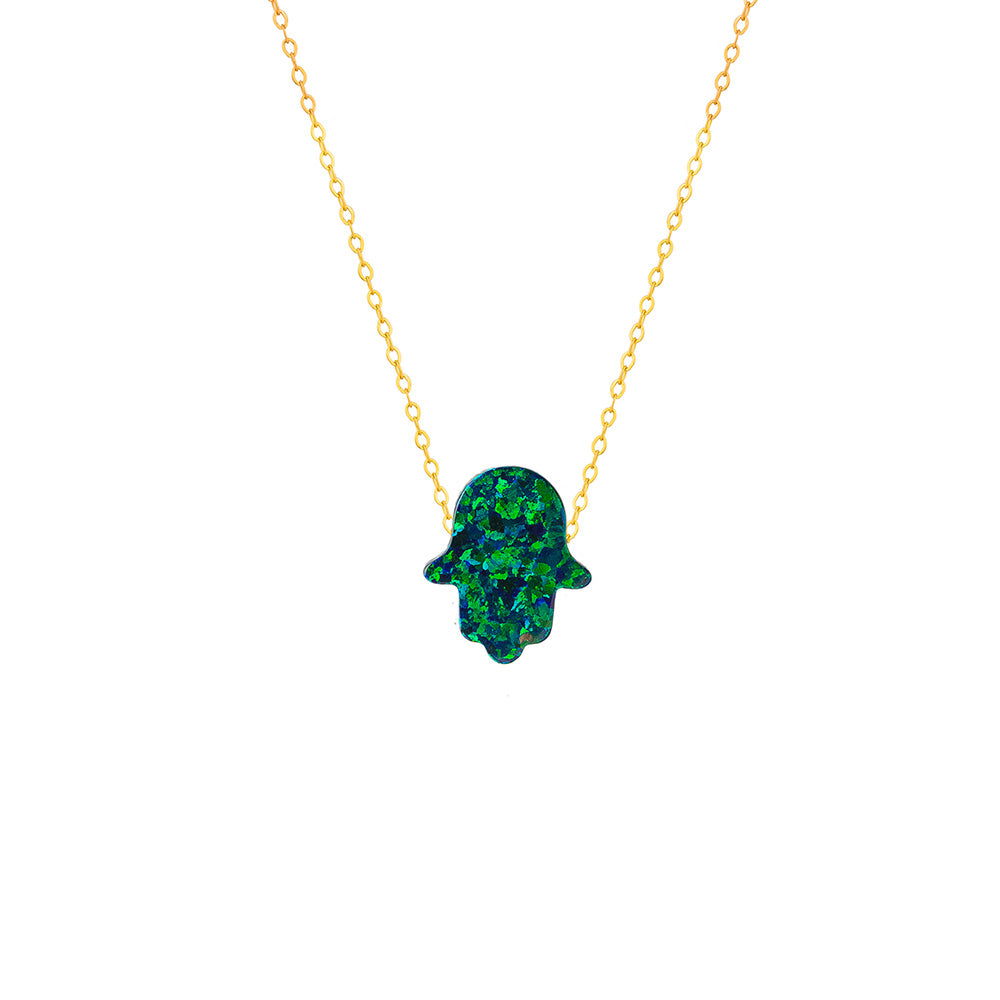 Ocean Green Hamsa Hand Necklace