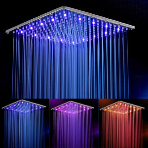 4-Setting LED Shower Head with Air Jet LED Turbo Pressure-Boost Nozzle Technology; 8 Colors of LED Lights Change Automatically Every Few Seconds