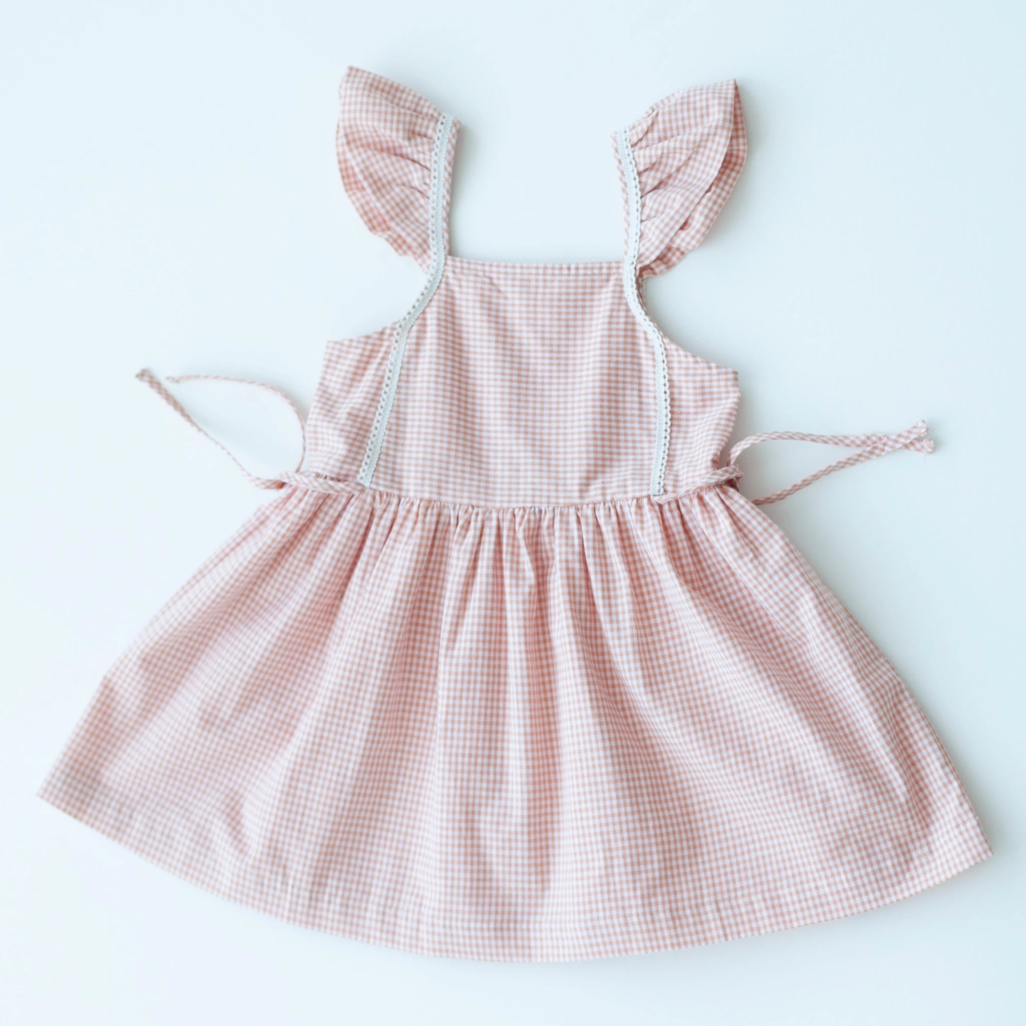 Pinafore Dress - Peach Chex