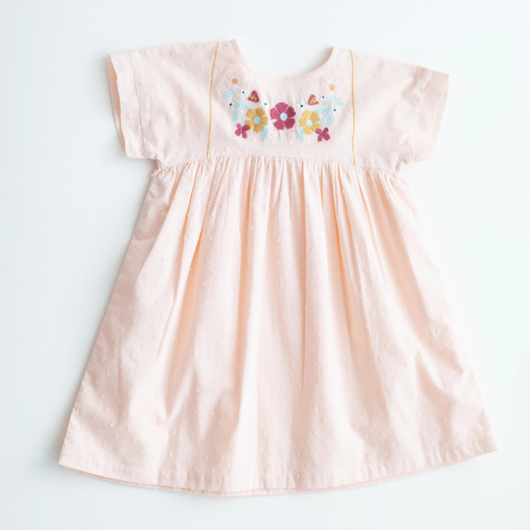 Gooseberry Dress - Peach Embroidery