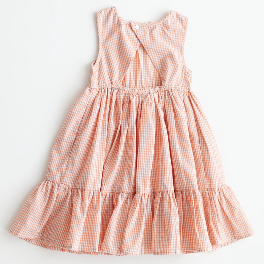 Chloe Dress - Peach Chex
