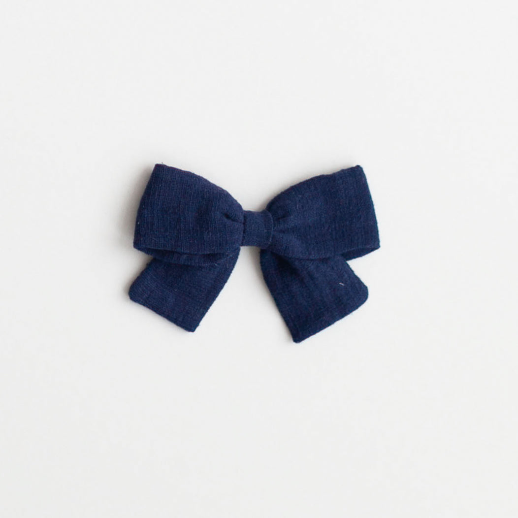 Big Bow, Navy Linen