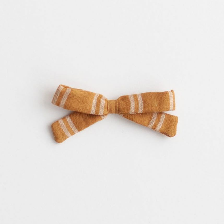 Small Bow, Mustard Stripe