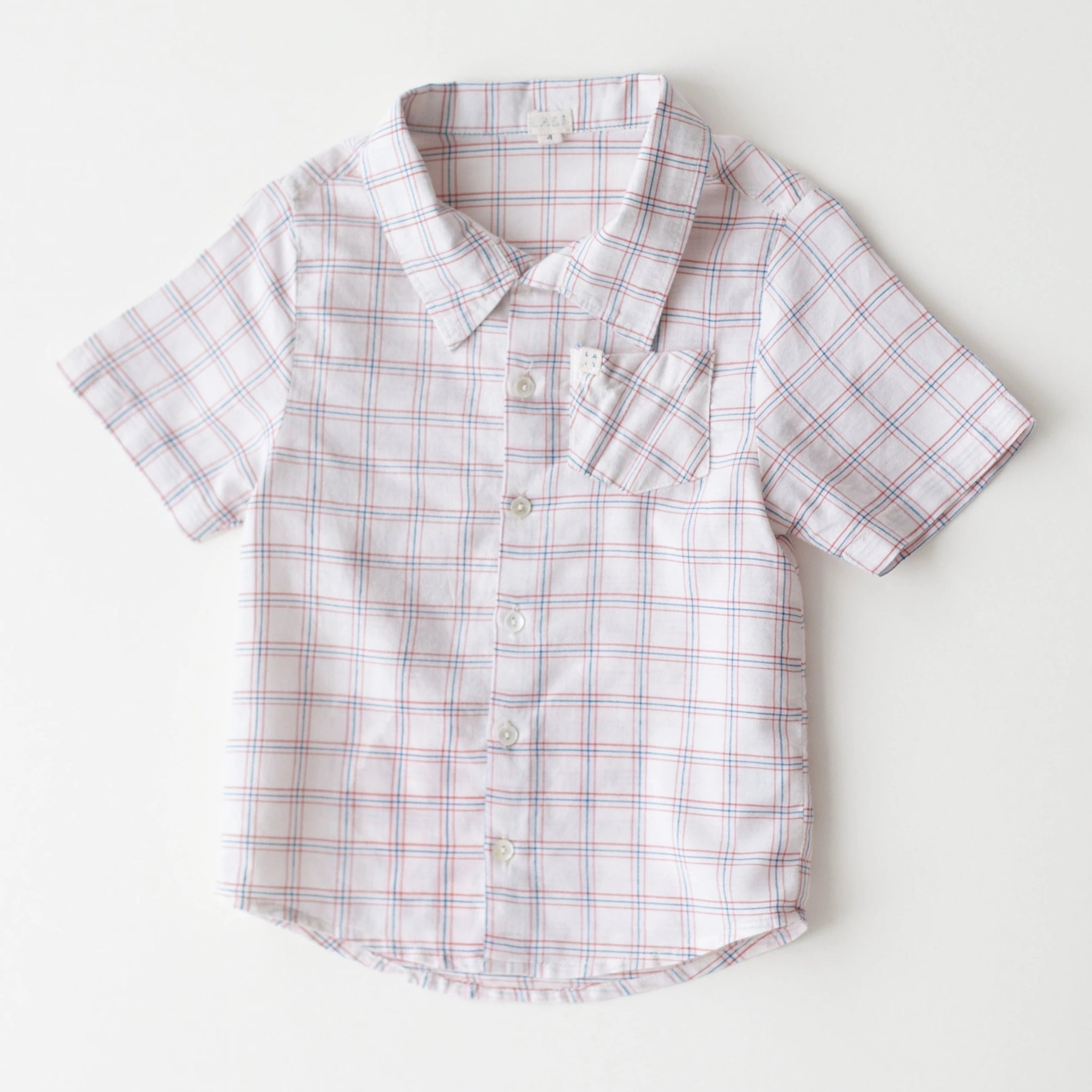 Boys Thistle Shirt - White Chex
