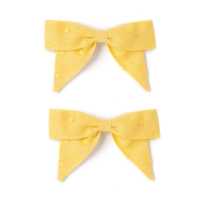 Botany Bow Set, Mustard Swiss Dot