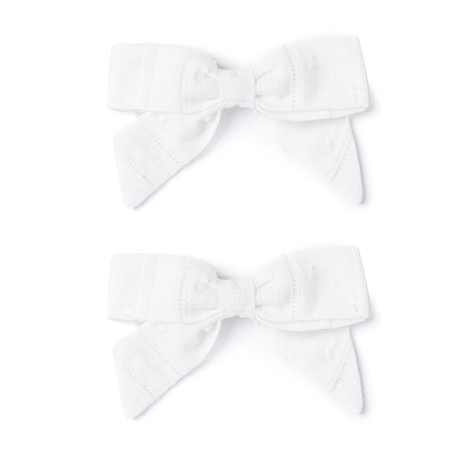 Botany Bow Set, White Swiss Dot