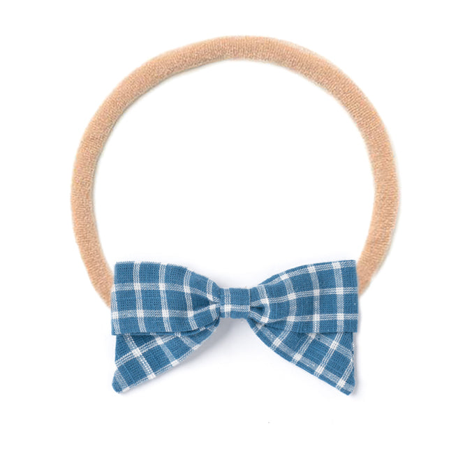 Headband Bow, Blue Chex