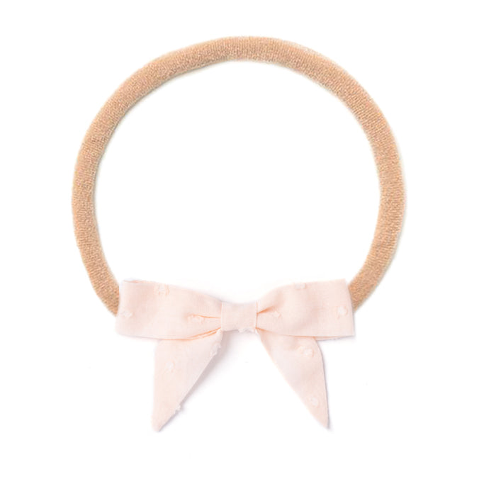 Headband Bow, Pink Swiss Dot