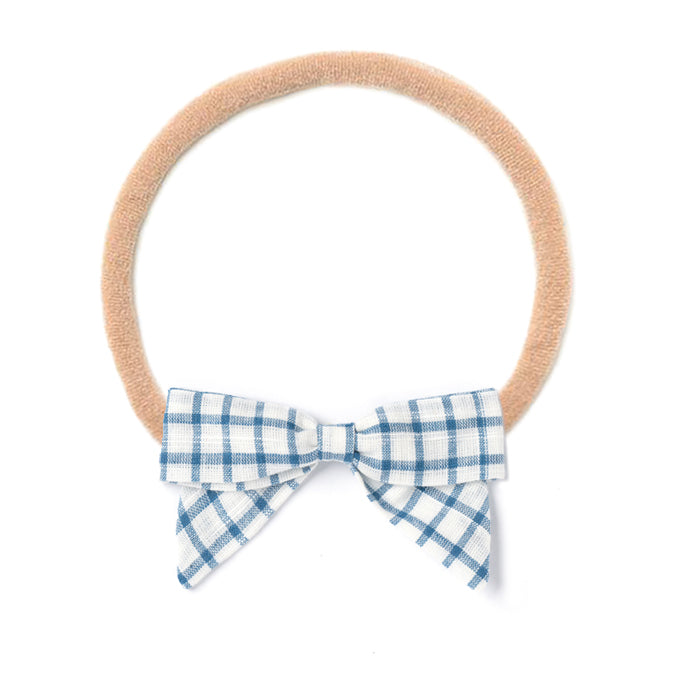 Headband Bow, White Chex
