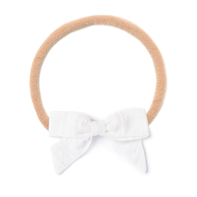 Headband Bow, White Swiss Dot