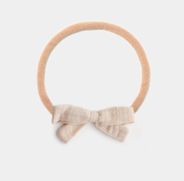 Headband Bow, Cream Linen