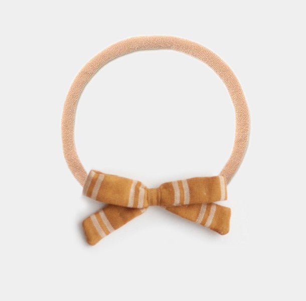 Headband Bow, Mustard Stripe