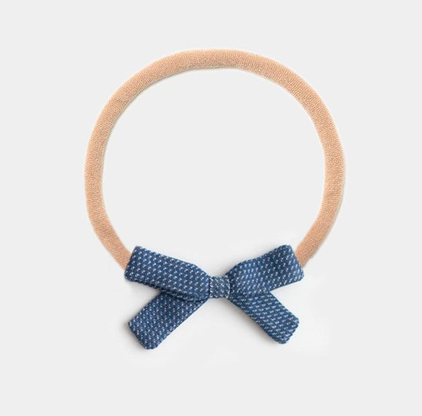 Headband Bow, Navy Chex