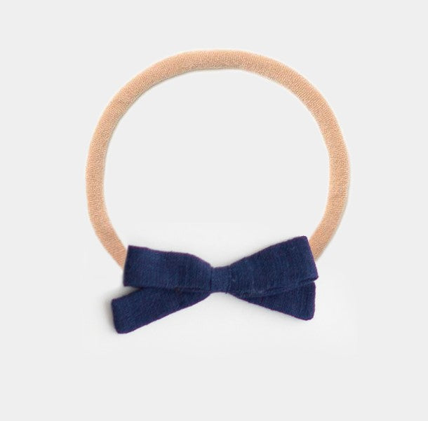 Headband Bow, Navy Linen