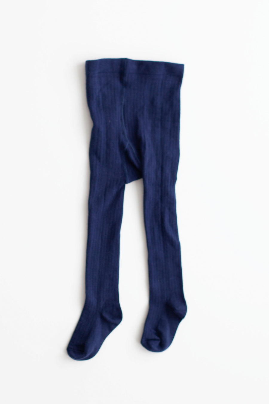Navy Ribbed Cotton Tights