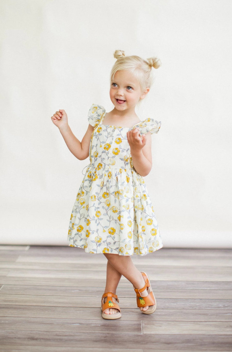 Pinafore Dress - Mustard Flowers