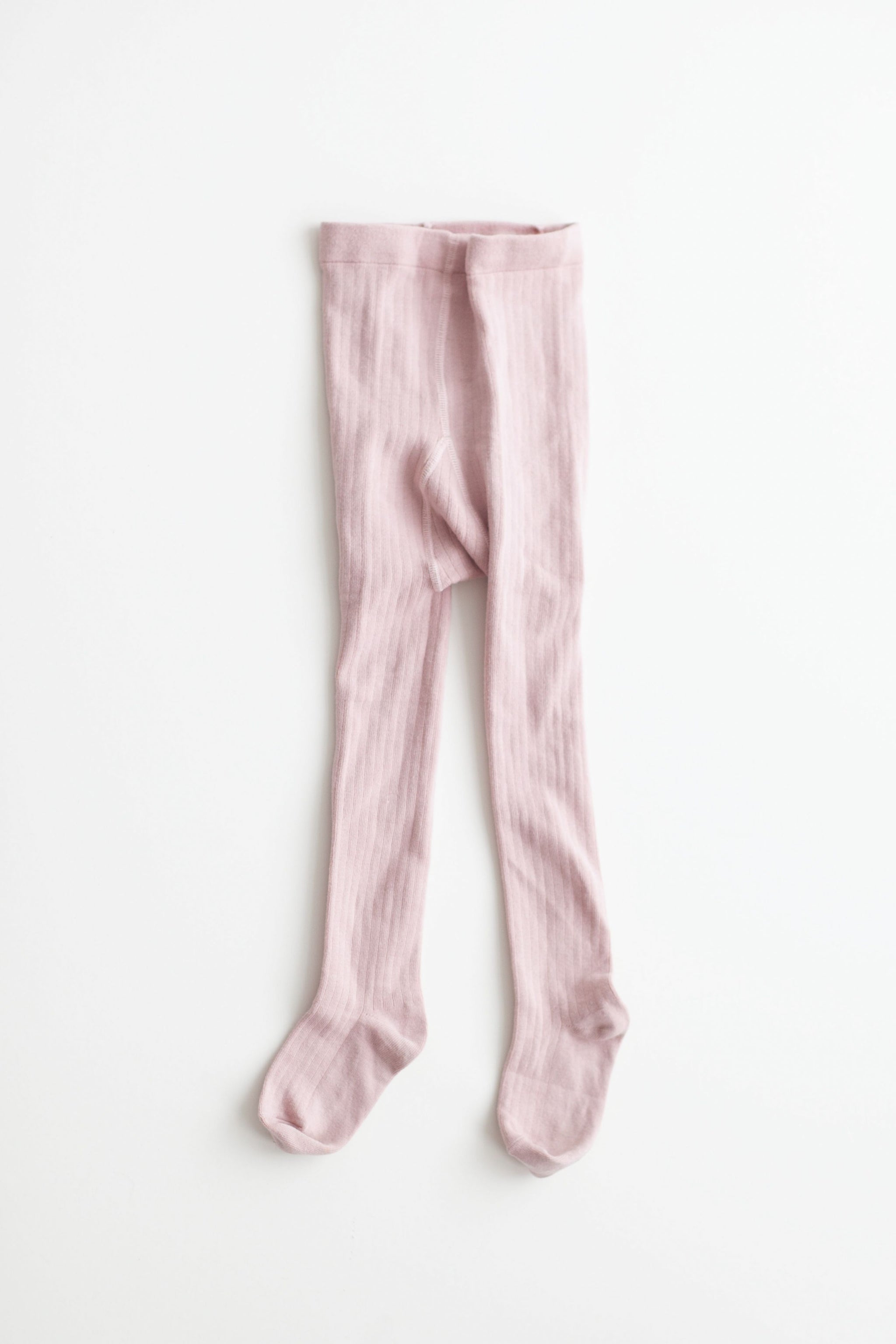 Pink Ribbed Cotton Tights