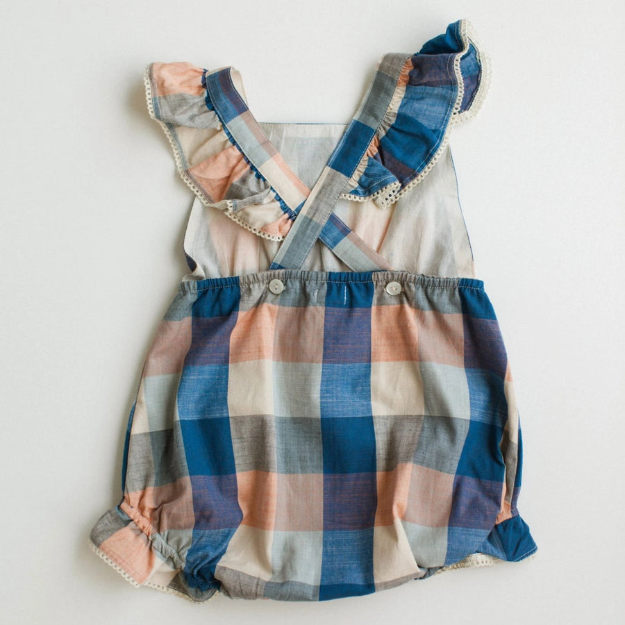 Poppy Romper - Blue Chex
