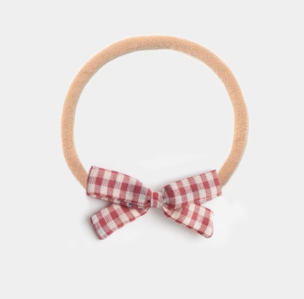 Headband Bow, Red Chex