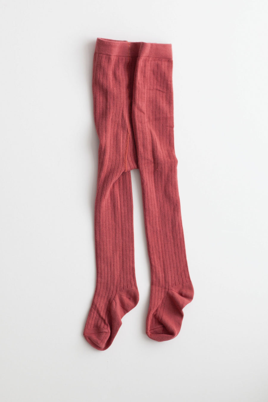 Rust Ribbed Cotton Tights