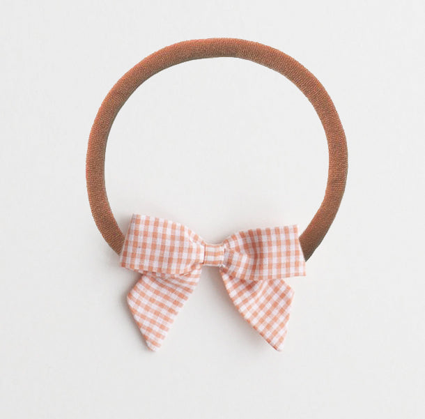 *Online Exclusive* Bow Headband - Peach Gingham