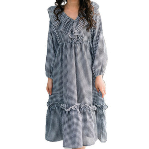 Gingham Ruffle Collar Long Sleeve Dress
