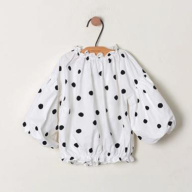 Polka Dot Bubble Sleeve Blouse