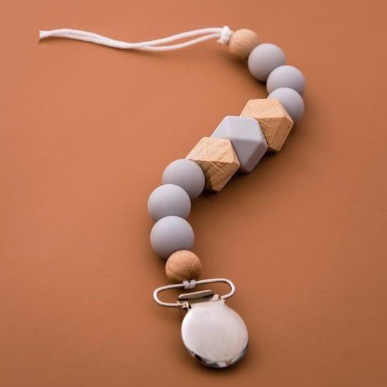 Silicone and Wood Beaded Metal Clip Pacifier Chain - Style 2