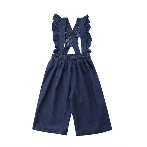 Ruffle Suspender Pants - Blue