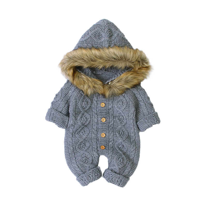 Baby Fur Hood Cable Knit Romper