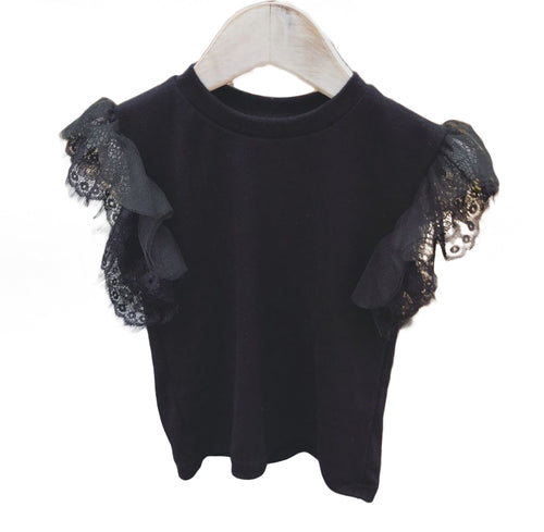 Girls Lace Sleeve Tee