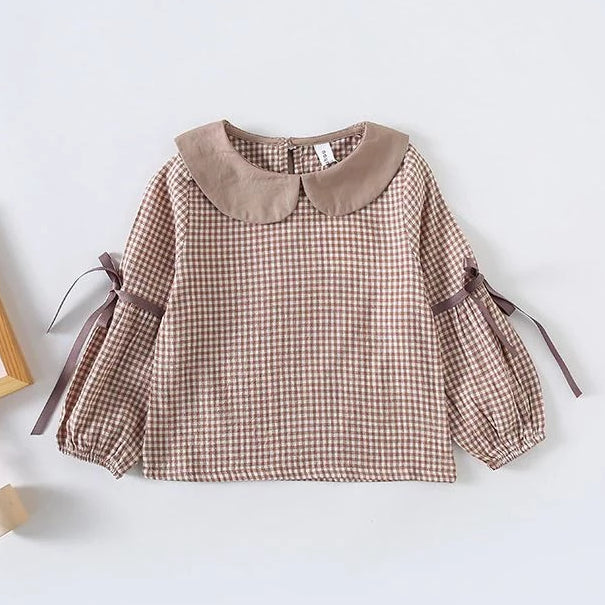 Girls Latte Gingham Ribbon Blouse
