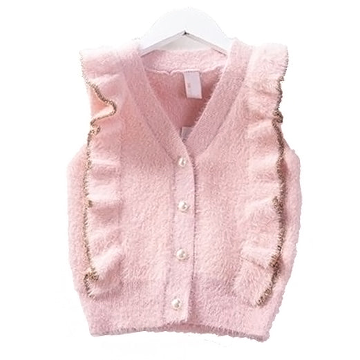 Ruffle Mink Pearl Button Vest Cardigan