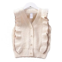 Load image into Gallery viewer, Ruffle Mink Pearl Button Vest Cardigan