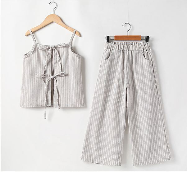 2PC Pinstripe Tie-back Tank and Pants set