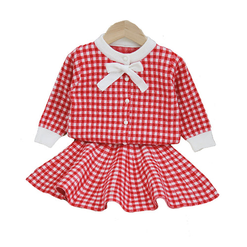 2PC Checked Bow Sweater & Short Skirt Set