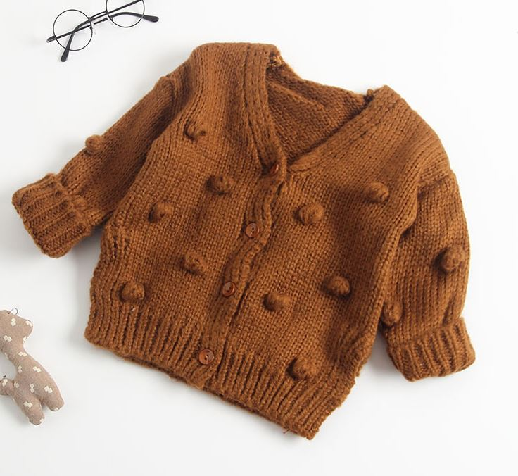 Girls Pompom Knitted Cardigan