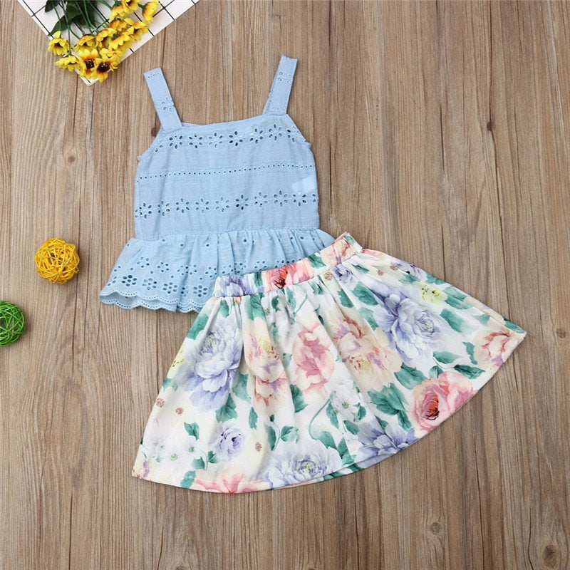 Lace Tank and Floral Bow-Knot Skirt Set