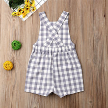 Load image into Gallery viewer, Plaid Cotton Pocket Romper