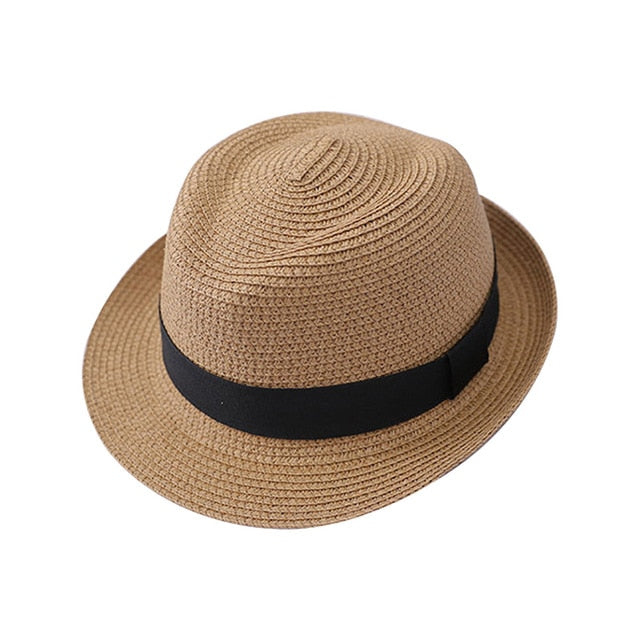 Black Strap Straw Fedora Jazz Hat
