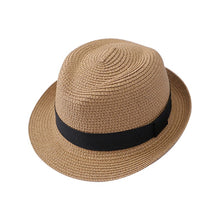Load image into Gallery viewer, Black Strap Straw Fedora Jazz Hat